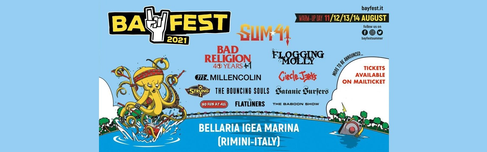 Bay Fest 2021 Bellaria Igea Marina biglietti Mailticket tickets and camping Sum 41 Millencolin Bad Religion
